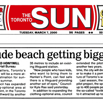 Toronto Sun 2000-03-07 p10 - Toronto Council extends Hanlan's Point CO-zone